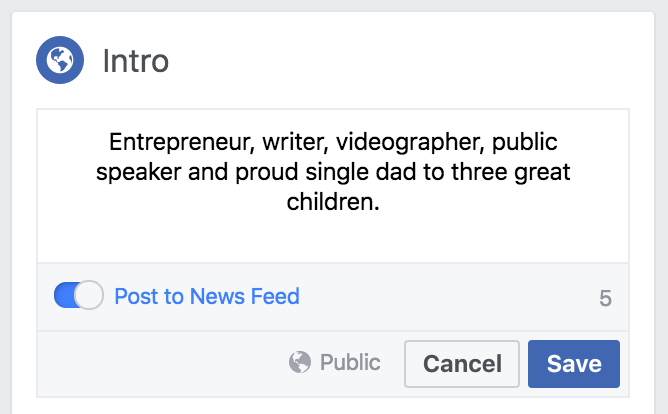 Facebook About Me Intro