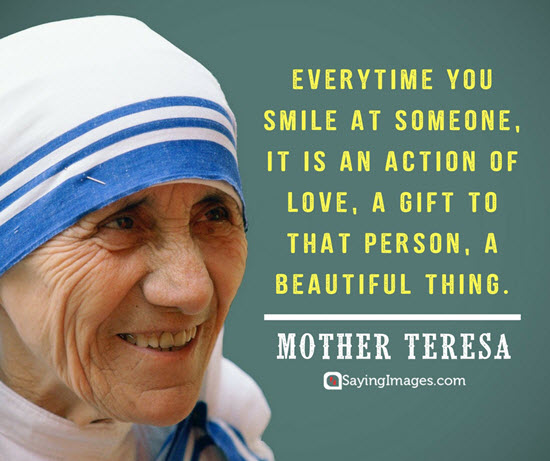 smile quote from mother Theresa