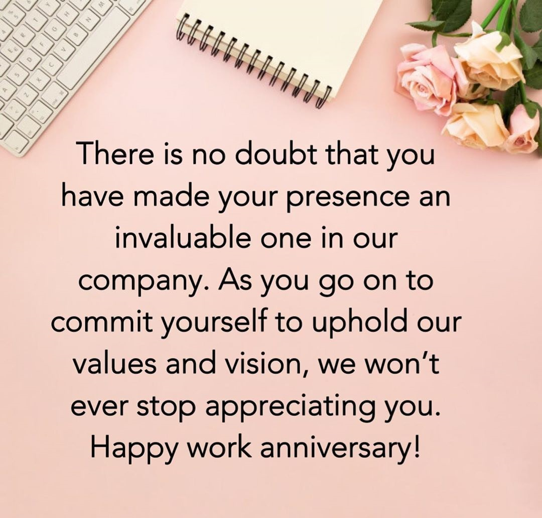 Happy Work Anniversary Speeches, Quotes and Wishes