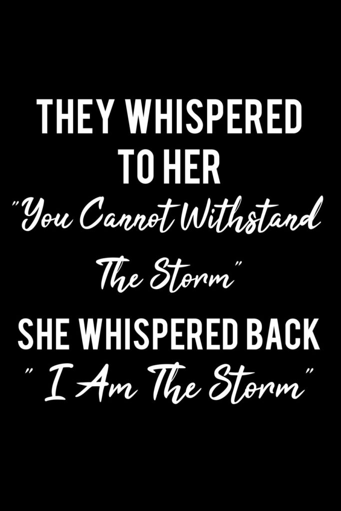 you cannot stand the storm quote