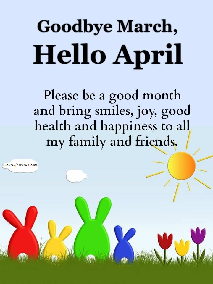 happy new month messages for april